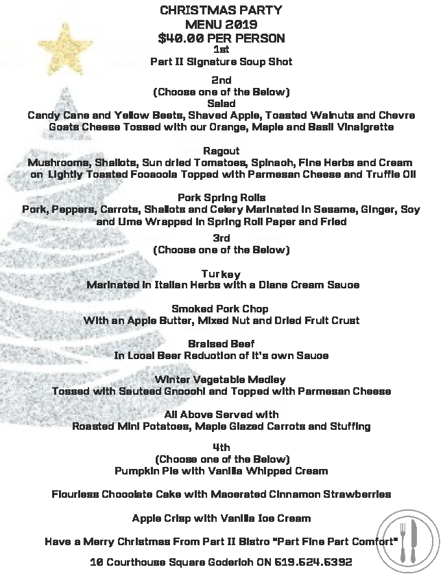 Christmas Menu 2019 - Part II Bistro Goderich, ON.