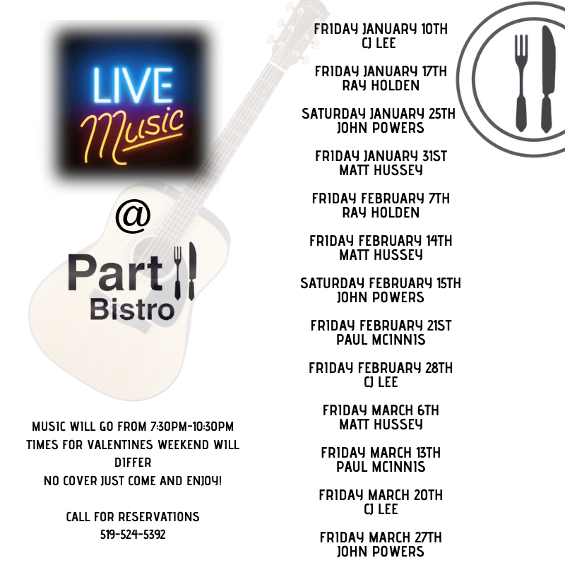 Live Music at Part II Bistro, Goderich ON.