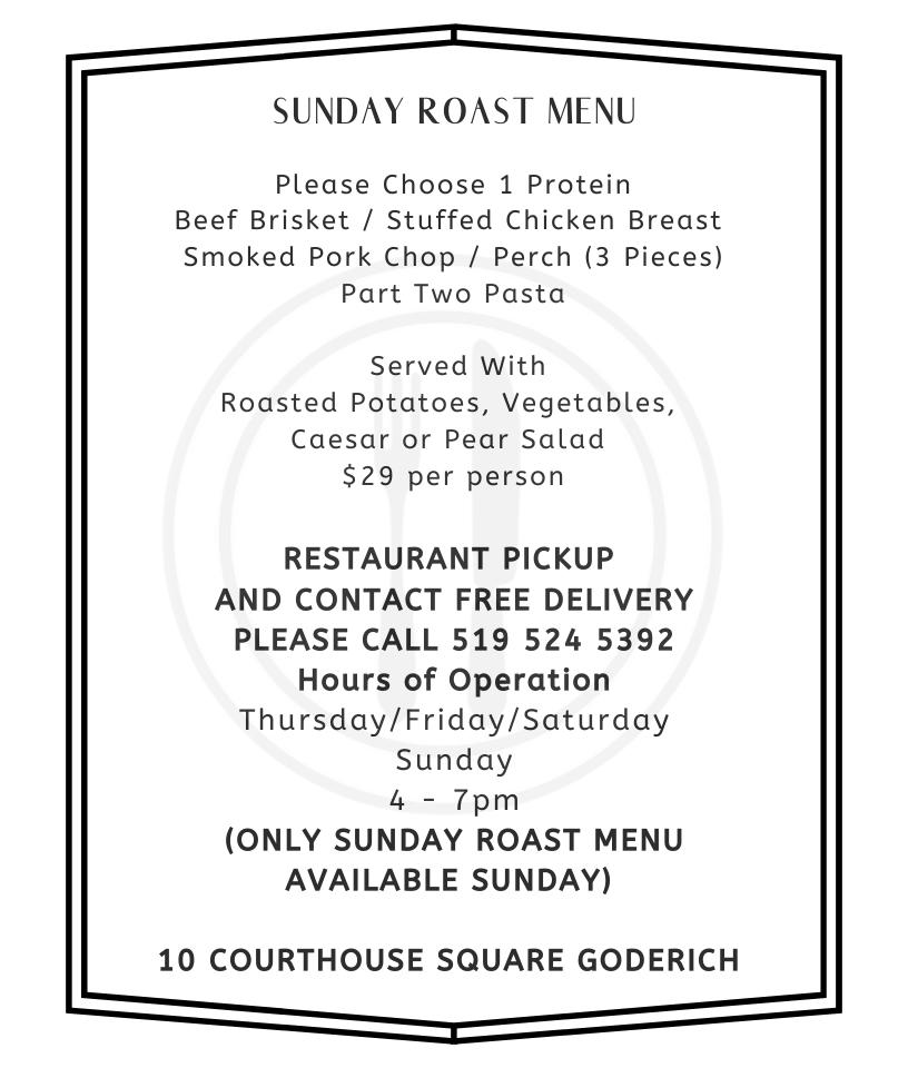 Part II Bistro - Sunday Roast Dinner Take Out Menu 2020