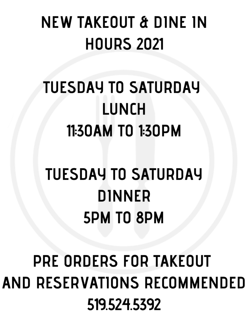 Part II Bistro - Takeout & Dine-in Hours 2021