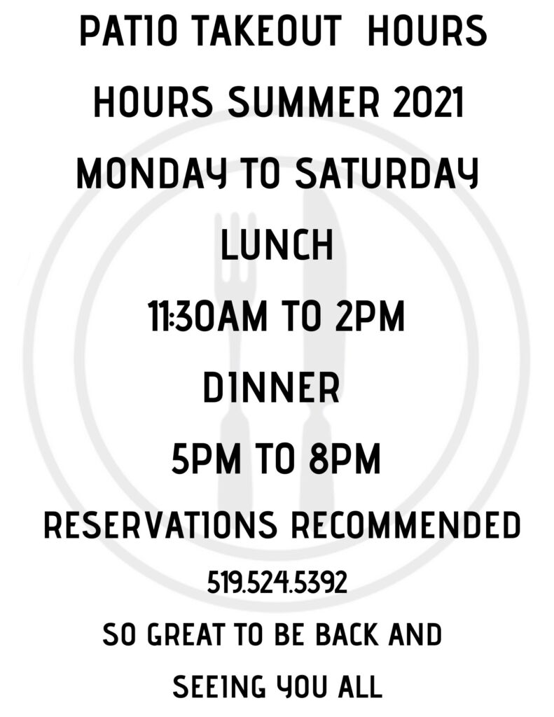 Patio & Takeout Hours Summer 2021 at Part II Bistro